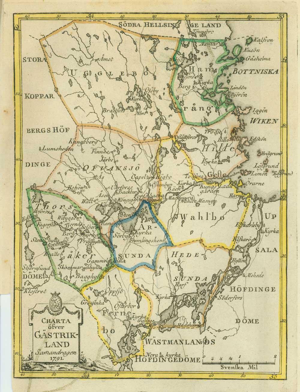 gästrikland karta Gästrikekarta från 1791   Sandviken 150 år, 2012 gästrikland karta